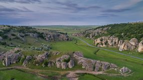 Dobrogea Gorges Cheile Dobrogei Romania. Mountain landscape with some of the oldest limestone rock formations in Europe in Dobrogea Gorges Cheile Dobrogei Royalty Free Stock Images