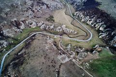 Mountain landscape with some of the oldest limestone rock formations in Europe. In Dobrogea Gorges Cheile Dobrogei Romania - aerial view Stock Photography