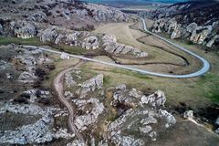 Mountain landscape with some of the oldest limestone rock formations in Europe. In Dobrogea Gorges Cheile Dobrogei Romania - aerial view Stock Images