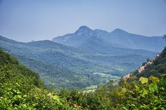 The mountain landscape of Songshan China. The mountainous area and landscape of Songshan or Mount Song in Henan Province China on a sunny day stock photo