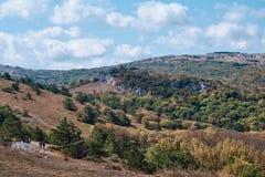 Mountain landscape of the southern Crimea. Walking along the high-mountainous plateau Ai Petri