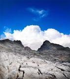 Mountain landscape, spiritual nature background. Spiritual mountain landscape, blue summer sky and white cloud, nature background Royalty Free Stock Image