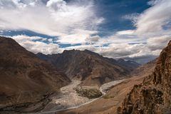 Mountain landscape, Spiti valley, river confluence. Beautiful landscape in Spiti Valley, Himachal Pradesh. India. The entire region is covered in snow for most royalty free stock image
