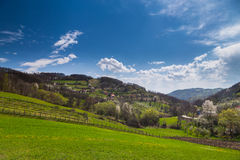 Mountain landscape in spring. Serbia scenery in spring. Small village in Serbia near Zlatibor Royalty Free Stock Photos
