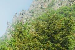 Hiking pathway- journey through roads, mystical nature. Mountain landscape- springtime mystical nature. Journey through roads and stone- hiking pathways stock photo