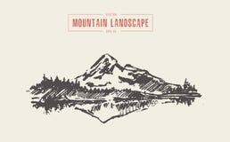 Mountain landscape spruce forest lake vector drawn. Sketch of mountain landscape with spruce forest and lake, vector illustration, hand drawn stock illustration