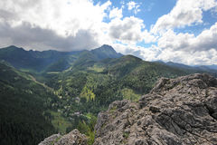 Mountain landscape with stone cliffs, sunny summer day. View from Nosal Mountain, Tatry, Poland. Mountain landscape with stone cliffs, sunny summer day. View royalty free stock images