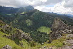 Mountain landscape with stone cliffs. View from Nosal Mountain, Tatry, Poland. Mountain landscape with stone cliffs, sunny summer day. View from Nosal Mountain royalty free stock photos