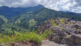 Mountain landscape with stone cliffs. View from Nosal Mountain, Tatry, Poland. Mountain landscape with stone cliffs, sunny summer day. View from Nosal Mountain stock photos