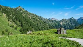 Mountain landscape in summer and the dark blue sky in Trentino Alto Adige. View from Passo Rolle, Italian Dolomites, Trento, Italy stock images