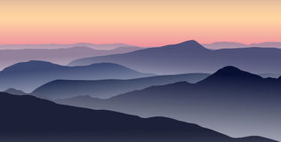 Mountain landscape in summer evening. Vector illustrations of purple sunset in the blue mountains. Horizontal background Stock Photos