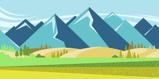 Mountain landscape with summer fields Stock Photos