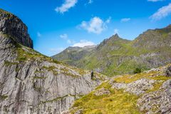Natural mountain landscape at summer in Lofoten, Norway stock photography