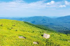 Mountain landscape on summer morning. Meadows on the hills decorated with big white sharp rocks. beautiful green and blue nature scenery on a sunny day stock images