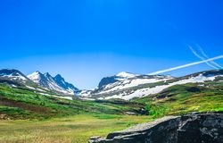 Mountain landscape in summer of Norway royalty free stock photo