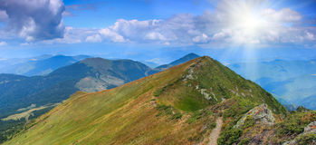 Mountain landscape in summer. Panoramic view of summer landscape in mountains Stock Image
