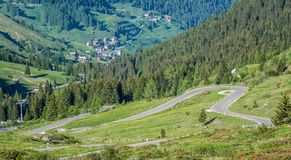 Mountain landscape in summer in Trentino Alto Adige. View from Passo Rolle, Italian Dolomites, Trento, Italy. royalty free stock image