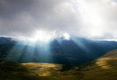 Mountain landscape with sun rays Stock Photography