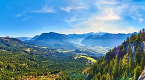 Mountain landscape at sunny day in Austrian Alps. Salzkammergut region royalty free stock photos