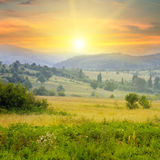 Mountain landscape and sunrise Royalty Free Stock Image