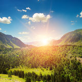 mountain landscape and sunrise Royalty Free Stock Photos