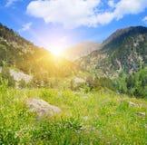 Mountain landscape and sunrise Royalty Free Stock Image