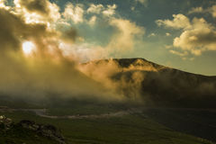 Mountain landscape. Sunrise in Carpathians - Transalpina road Stock Image