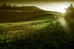 Mountain landscape and sunrise Royalty Free Stock Images