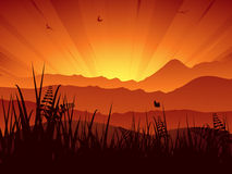 Mountain landscape sunset Royalty Free Stock Photos