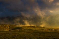 Mountain landscape. Sunset in Carpathians - Transalpina road Stock Photos