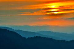 Mountain landscape in the sunset colors Stock Image