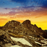 Mountain landscape at sunset in Sexten Dolomites. Royalty Free Stock Photography