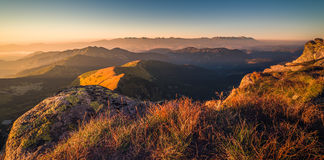 Mountain Landscape at Sunset Royalty Free Stock Images