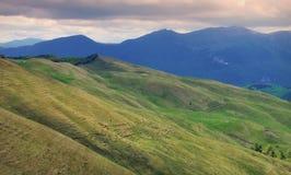 Mountain landscape on sunset - Baiului Mountains, landmark attraction in Romania Royalty Free Stock Photos