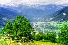 Mountain landscape of Svaneti by Mestia in Svaneti, Georgia stock photo