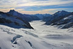 Mountain landscape in the Swiss Alps. Aletsch glacier, longest g. Aletsch glacier and mountains. View from Jungfraujoch, Switzerland stock photos