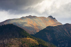 Mountain landscape, Tatry. Eeriness mountain landscape, Tatry, Poland royalty free stock image