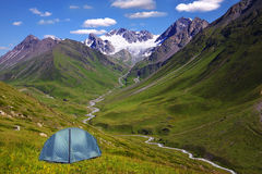 Mountain landscape with the tent Royalty Free Stock Photos