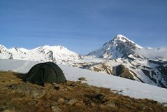 Mountain landscape. With tent in the foreground Stock Image