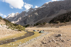 Mountain landscape with tents. Stock Image