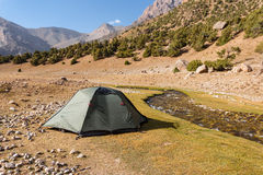 Mountain landscape with tents. Stock Photos