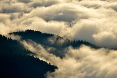 Mountain landscape with thick clouds Royalty Free Stock Photo