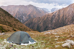 Mountain landscape of Tien Shan with tent. Stock Photos