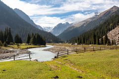 Mountain landscape of Tien Shan. View on mountain peaks, Tien Shan, central asia, Kyrgyzstan. Travel concept background Royalty Free Stock Photography