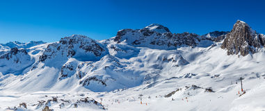 Mountain landscape in Tignes. View of the mountains in winter Tignes. France Royalty Free Stock Images