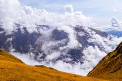 Cloudy mountain valley royalty free stock images