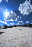 Mountain landscape and tourist. Mountaineering in snowy landscapes of the Medicine Bow Mountains of Wyoming Stock Images