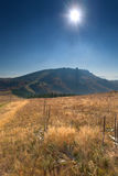 Mountain landscape towards the sun at autumn Royalty Free Stock Images