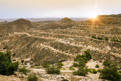 Mountain landscape at the town Matmata. In Tunisia at sunset Royalty Free Stock Image