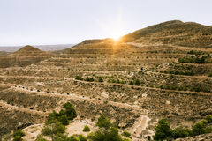 Mountain landscape at the town Matmata Stock Photo